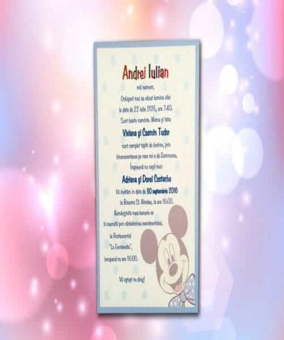Invitatie de botez cod 101 din Catalogul Lara Baby
