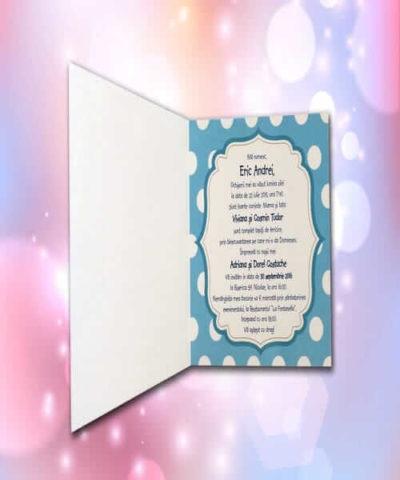 Invitatie de botez cod 107 din Catalogul Lara Baby